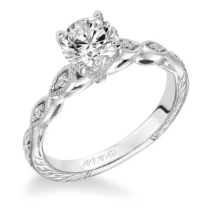 """Caraline"" Hand Engraved Milgrain Vintage Diamond Engagement Ring"