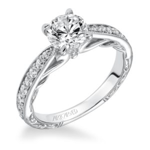 """Geneva"" Hand Engraved Milgrain Bead Set Diamond Engagement Ring"