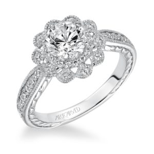"""Primrose"" Hand Engraved Milgrain Floral Diamond Halo Engagement Ring"