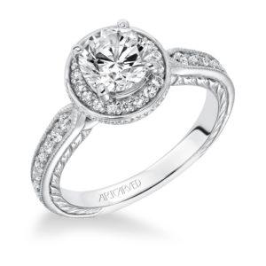 """Jemima"" Hand Engraved Milgrain Diamond Halo Engagement Ring"