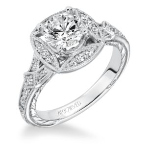 """Lorraine"" Hand Engraved Milgrain Halo Engagement Ring"