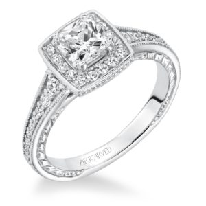 """""""Millicent"""" Engraved Square Halo Diamond Engagement Ring"""