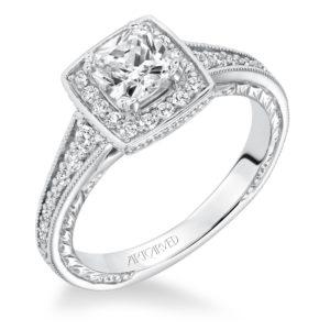 """Millicent"" Hand Engraved Milgrain Square Halo Diamond Engagement Ring"