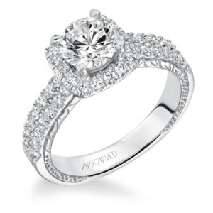 """Eugenie"" Hand Engraved Milgrain Diamond Engagement Ring"