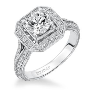 """Delphine"" Hand Engraved, Milgrain Cushion Halo Diamond Engagement Ring"