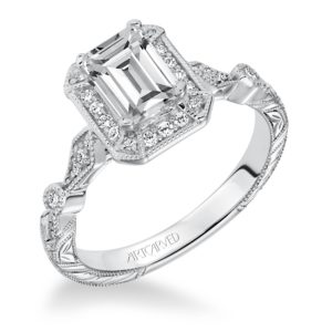 """Georgina"" Hand Engraved Milgrain Diamond Engagement Ring with Emerald Cut Halo"