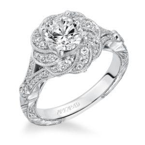 """Matilda"" Engraved Diamond Floral Halo Engagement Ring"