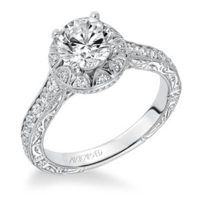 """Matilda"" Hand Engraved Milgrain Scallop Halo Diamond Engagement Ring"