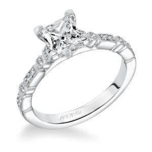 """""""Marguerite"""" Hand Engraved Milgrain Vintage Diamond Engagement Ring"""