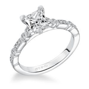 """Marguerite"" Hand Engraved Vintage Engagement Ring"