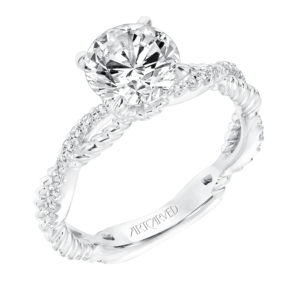 """Rhea"" Engagement Ring with Twisted Diamond and Rope Shank"