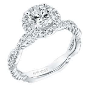 """Isobel"" Halo Engagement Ring with Twisted Diamond & Rope Shank"