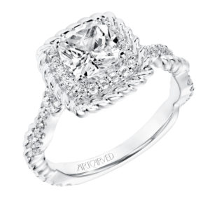 """Ashby"" Diamond Rope Halo Engagement Ring with Twisted Diamond Rope Shank"