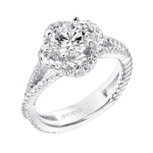 """Ivy"" Diamond Knot Halo Engagement Ring with Diamond and Rope Split Shank"