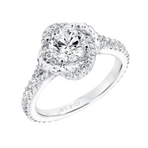 """Ryane"" Diamond Twisted Halo Engagement Ring"
