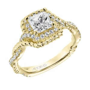 """Briana"" Diamond and Rope Halo Engagement Ring"