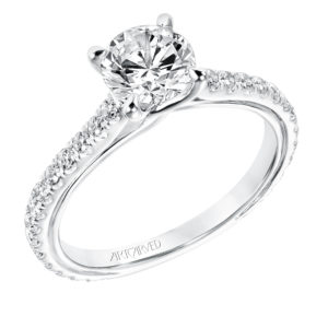 """Carmen"" Diamond Engagement Ring with Twist Accent"