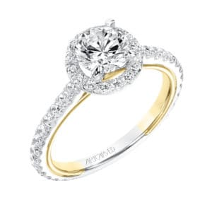 """Quinn"" Two Tone Diamond Halo Engagement Ring"