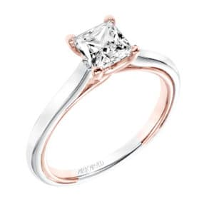 """Tayla"" Two Tone Princess Cut Solitaire"