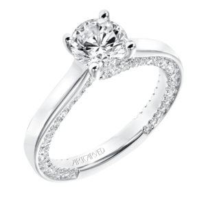"""Astara"" Solitaire Engagement Ring with Inside Diamond Twist Accent"