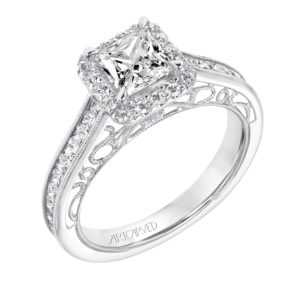 """Corene"" Vintage Diamond Halo Engagement Ring"