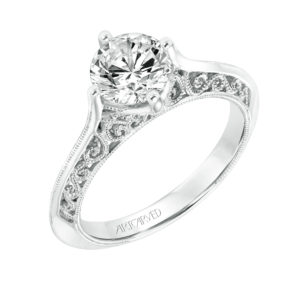 """Jessamine"" Engagement Ring with Filagree Detail"
