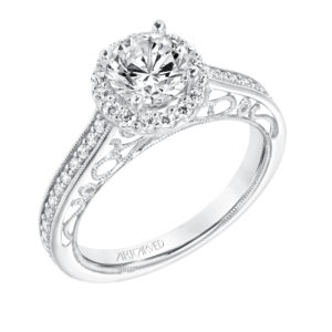 """Indra"" Vintage Filigree Diamond Halo Engagement Ring"