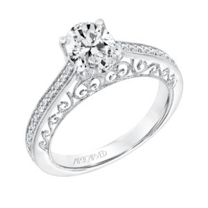 Vintage Diamond Prong Set Engagement Ring with Diamond Shank Scrollwork Filigree and Hand Migraine Detail and Matching Band