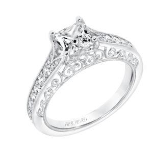 Vintage Diamond Prong Set Engagement Ring with Diamond Split Shank and Matching Band