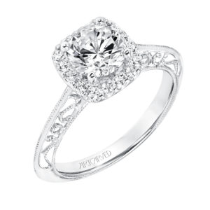 Vintage Diamond Halo Engagement Ring and Matching Band