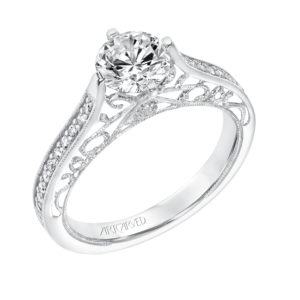 Vintage Diamond Prong Set Engagement Ring with Matching Band