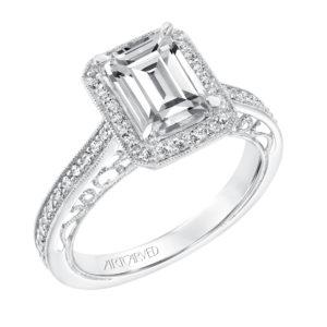 """Velma"" Vintage Diamond Halo Engagement Ring for Emerald Cut Stone"
