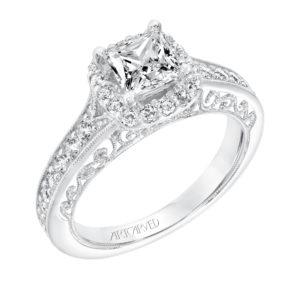 """Octavia"" Vintage Diamond Halo Engagement Ring"