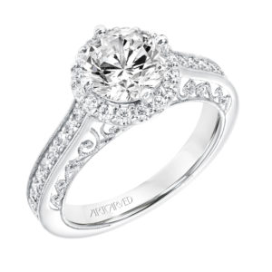 """Eris"" Vintage Diamond Halo Engagement Ring"