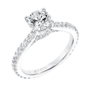 """Constance"" Diamond Prong Set Engagement Ring and Matching Band"