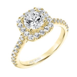 """Lenore"" Diamond Prong Set Halo Engagement Ring"