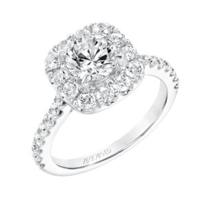 """Frances"" Diamond Prong Set Halo Engagement Ring"