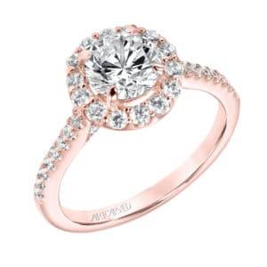 """Judith"" Diamond Prong Set Halo Engagement Ring"