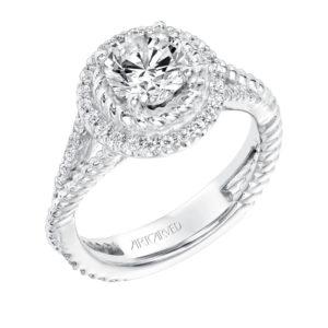 """Skyla"" Diamond and Rope Halo Engagement Ring"