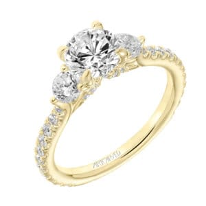 """Claudia"" Three Stone Diamond Engagement Ring with Diamond Shank"