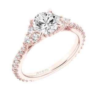 """Clio"" Three Stone Cluster Diamond Engagement Ring"