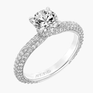 """Helena"" Diamond Engagement Ring with Pave Shank"