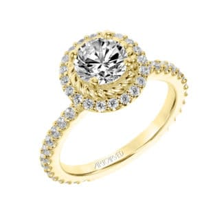 """Cara"" Contemporary Diamond & Rope Halo Engagement Ring"