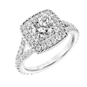 """Alexa"" Inner & Outer Rope and Diamond Halo Engagement Ring"