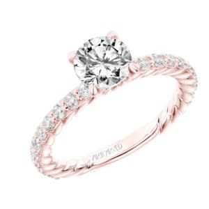 """Wren"" Diamond Engagement Ring with Rope Prongs"
