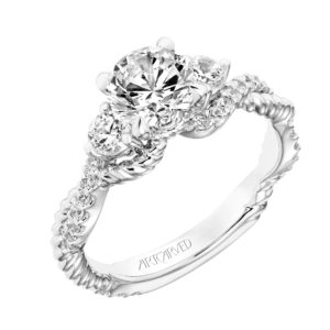 """Danica"" Diamond Three Stone Rope Design Engagement Ring"