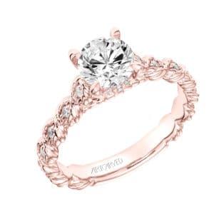 """""""Larisa"""" Rope Accent Diamond Engagement Ring"""