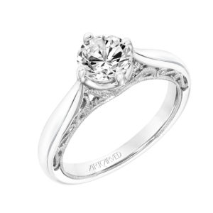"""Gayla"" Vintage Diamond Engagement Ring with Scroll Details"
