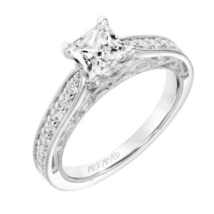 """Blanche"" Vintage Diamond Bead Set Engagement Ring with Scroll Details"