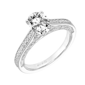 """Marie""Vintage Diamond Bead Set Engagement Ring with Scroll Details"